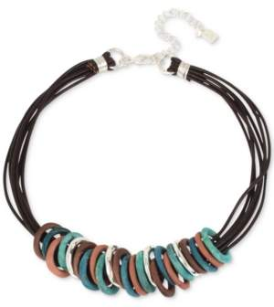 "Robert Lee Morris Soho Silver-Tone Mixed Patina Sculptural Ring Leather Collar Necklace, 17"" + 3"" extender"