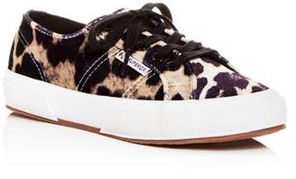 Superga Women's Leopard Print Velvet Classic Lace Up Sneakers