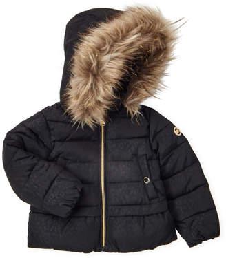 Michael Kors Toddler Girls) Black Cheetah Shimmer Hooded Coat