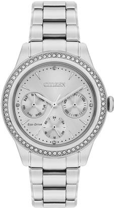 Citizen Eco-Drive Silver Dial Stone Set Stainless Steel Bracelet Ladies Watch