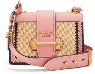 Prada - Small Raffia Leather Bag - Womens - Pink Multi