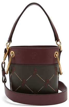 Chloé Roy Little Horses Mini Leather Bucket Bag - Womens - Dark Green Multi