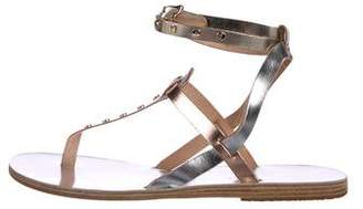 Ancient Greek Sandals Metallic Leather Strap Sandals