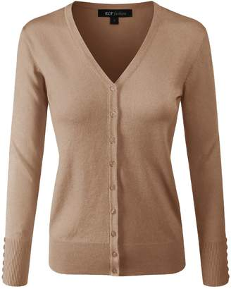 ELF FASHION Women Top Long Sleeve Button V-Neck Knit Sweater Cardigan (Size S~3XL) Camel S