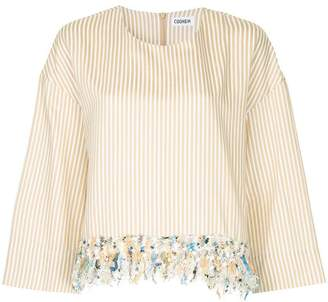 Coohem tweed-fringe striped top