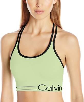 Calvin Klein Women's Long Line Strappy Bra W/Ruched Front