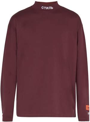 HERON PRESTON СТИЛЬ-embroidered high-neck long-sleeved T-shirt