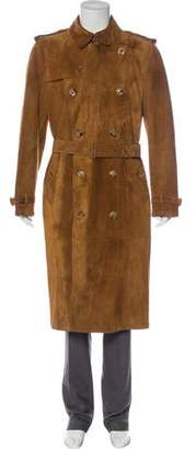 Burberry Kensington Italian-Tanned Suede Trench Coat