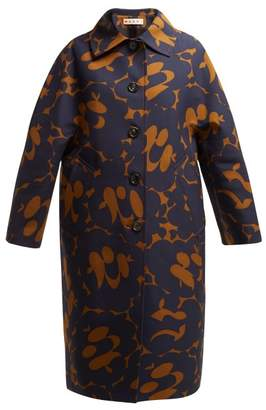 Marni Belou Print Cotton Single Breasted Coat - Womens - Brown Multi