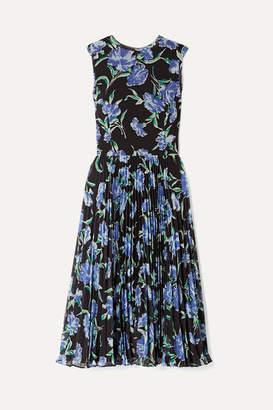 Jason Wu Collection - Pleated Floral-print Chiffon Midi Dress - Black