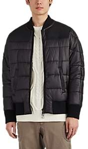 Neil Barrett Men's Leather-Paneled Bomber Puffer Jacket - Black