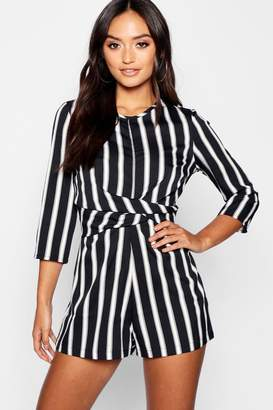 boohoo Petite Stripped Twist Front Playsuit