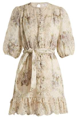 Zimmermann - Iris Floral Print Linen Dress - Womens - Purple Multi