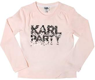 Karl Lagerfeld Party Sequins Cotton Jersey T-Shirt