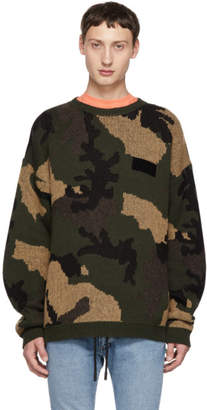 Off-White Off White Green Camouflage Sweater