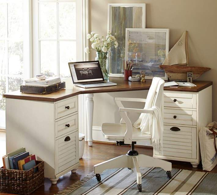 Whitney Corner Desk Set, Almond White