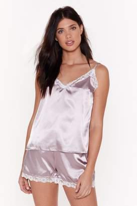 Nasty Gal Womens Sweet Dreams Satin Lace Pyjama Set - Purple - 6, Purple