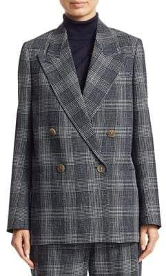 Acne Studios Double-Breasted Plaid Wool Jacket