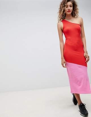 Asos DESIGN rib color block maxi dress