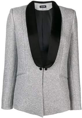Styland satin trim glittered crepe jacket