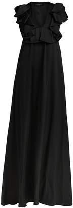 Rochas Ruffled duchesse silk-satin gown