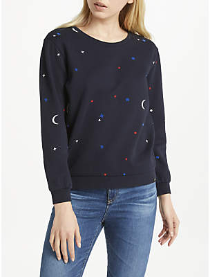 Maison Scotch Star Moon Print Sweater, Navy