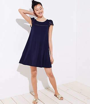 LOFT Lace Cap Sleeve Swing Dress