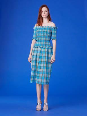 Diane von Furstenberg Off-The-Shoulder Smocked Blouse