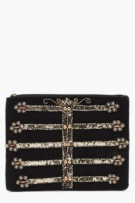 boohoo Military Sequin Clutch