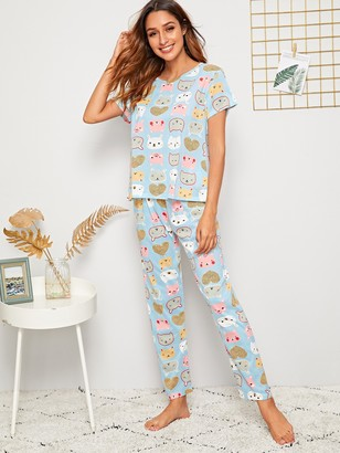 Shein Cartoon Print PJ Set With Eye Mask