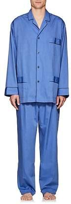 Barneys New York Men's End-On-End Cotton Pajama Set - Blue