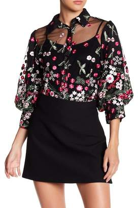 CQ by CQ Flower Embroidered Bishop Sleeve Blouse