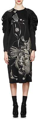 Dries Van Noten Women's Floral-Embroidered Satin Dress