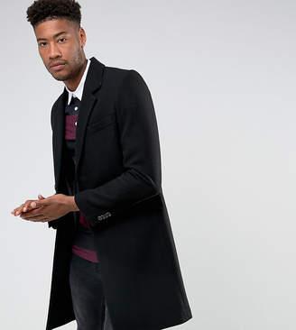 Asos Design Tall Wool Mix Overcoat In Black