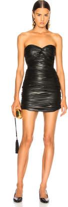 Zeynep Arcay Strapless Draped Leather Dress in Black | FWRD