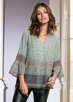 Together Print Blouse with Flared Sleeves