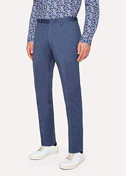 Paul Smith Men's Slim-Fit Slate Blue Stretch-Cotton Twill Pants