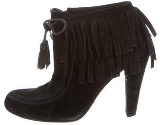 Gucci Suede Fringe-Trimmed Ankle Boots