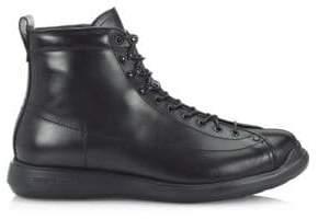 Giorgio Armani Lace-Up Leather Ankle Boots