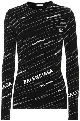 Balenciaga Spring 19 Logo ribbed-knit top