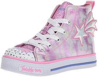 Skechers Girls' Twinkle LITE-Stellar Starz Hi-Top Trainers, (Pink/Silver Pksl), (33 EU)