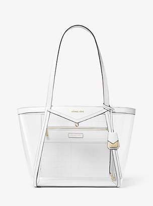 Michael Kors Whitney Large Clear And Leather Tote Bag