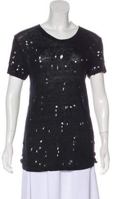 IRO Distressed Short Sleeve T-Shirt Navy Distressed Short Sleeve T-Shirt