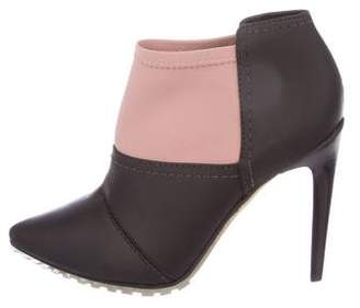 Tibi Leather Pointed-Toe Ankle Boots