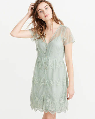 Abercrombie & Fitch Embroidered Mesh Lace Shirt Dress