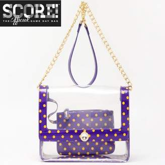 clear SCORE! PU Cross Body Shoulder Bag for Game Day Chrissy Royal Purple & Yellow Gold by The Official Game Day Bag Two Piece Set