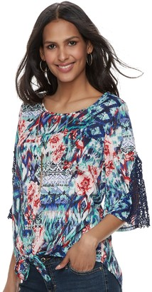 Laundry by Shelli Segal Women's French Printed Tie-Front Necklace Top
