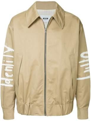 MSGM Graffiti print bomber jacket