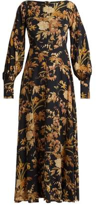 Zimmermann Basque Floral Print Silk Blend Dress - Womens - Brown Print