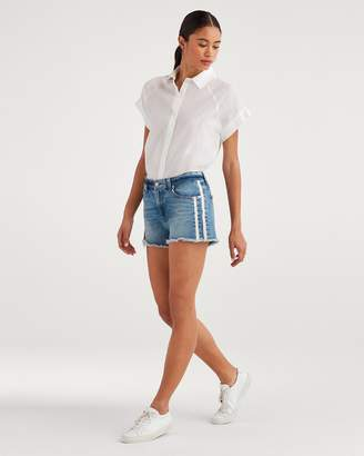 7 For All Mankind High Waist Short with Frayed Hem and Double White Stripes in Sloane Vintage